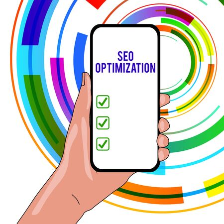 Handwriting text writing Seo Optimization. Conceptual photo process of affecting online visibility of website or page Closeup of Smartphone Device Held in Hand with Empty Screen and Text Space Reklamní fotografie