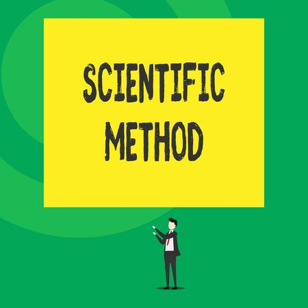 Word writing text Scientific Method. Business photo showcasing Principles Procedures for the logical hunt of knowledge Isolated view young man standing pointing upwards two hands big rectangle 스톡 콘텐츠 - 124896129