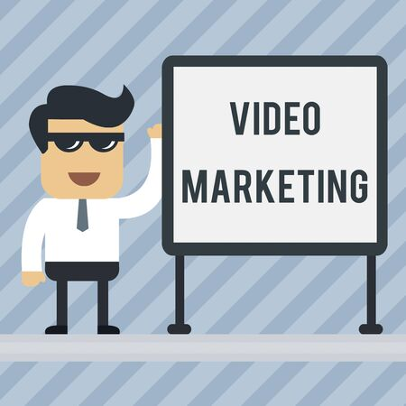 Writing note showing Video Marketing. Business concept for create short videos about specific topics using articles Office Worker Sunglass Blank Whiteboard Meeting Presentation