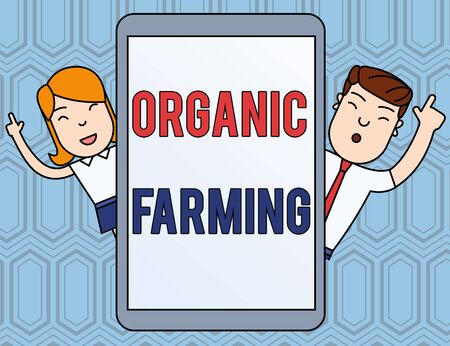 Text sign showing Organic Farming. Business photo text an integrated farming system that strives for sustainability Male and Female Index Fingers Up Touch Screen Tablet Smartphone Device Banco de Imagens