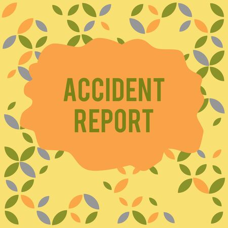 Conceptual hand writing showing Accident Report. Concept meaning A form that is filled out record details of an unusual event Seamless Summer Autumn Leaf Texture Multicolored Pattern Stock Photo