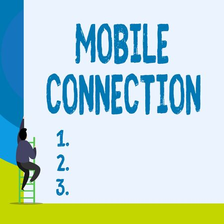Word writing text Mobile Connection. Business photo showcasing Secure universal login solution using mobile phone Back view young man climbing up staircase ladder lying big blank rectangle Reklamní fotografie