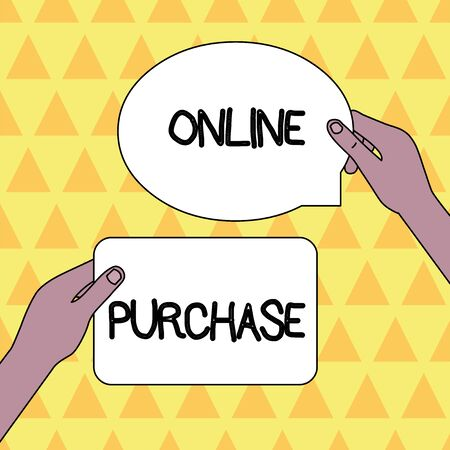 Handwriting text Online Purchase. Conceptual photo Purchases electronic commerce goods from over the Internet Two Blank Figured Tablets Signs Held in Hands One Above Other Text Space