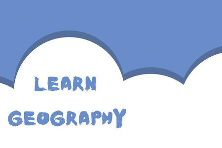 Writing note showing Learn Geography. Business concept for study of physical features of earth and its atmosphere Half cloud blue sky landscape Seamless cloudy pattern Abstract Banco de Imagens