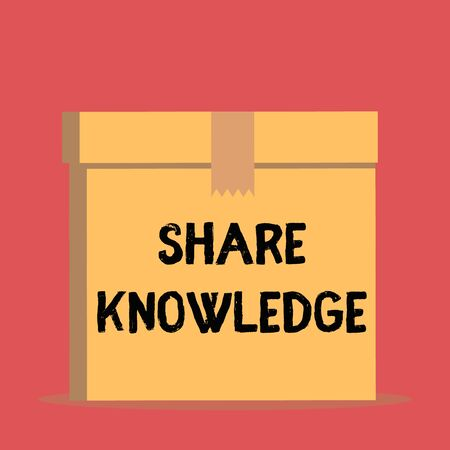 Handwriting text Share Knowledge. Conceptual photo teaching others what I learnt before Giving lectures Close up front view open brown cardboard sealed box lid. Blank background Stock Photo