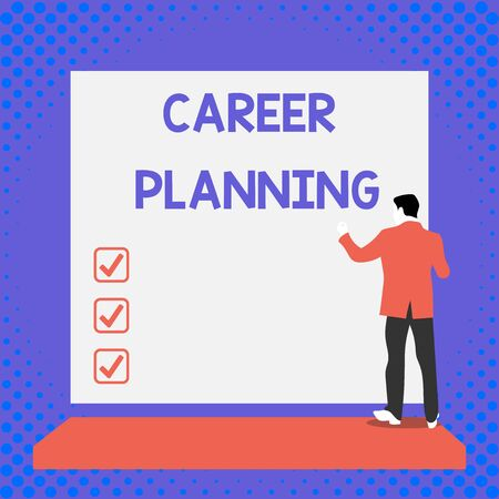 Text sign showing Career Planning. Business photo text Strategically plan your career goals and work success Back view young man dressed suit standing platform facing blank rectangle Banco de Imagens