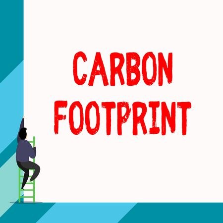 Writing note showing Carbon Footprint. Business concept for amount of dioxide released atmosphere result of activities Back view young long hair woman holding blank square announcement
