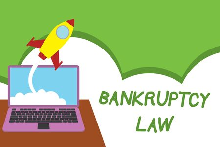 Text sign showing Bankruptcy Law. Business photo showcasing Designed to help creditor in getting the asset of the debtor Successful rocket launching clouds out laptop background. Startup growing