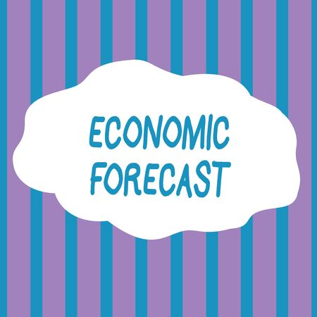 Text sign showing Economic Forecast. Business photo showcasing Process of making predictions about the economy condition Seamless Vertical Stripes Pattern in Blue and Violet Alternate Color Strip Banco de Imagens