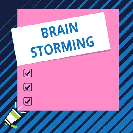 Conceptual hand writing showing Brain Storming. Concept meaning Stimulating creative thinking Developing new ideas Discussion Speaking trumpet on bottom and paper on rectangle background
