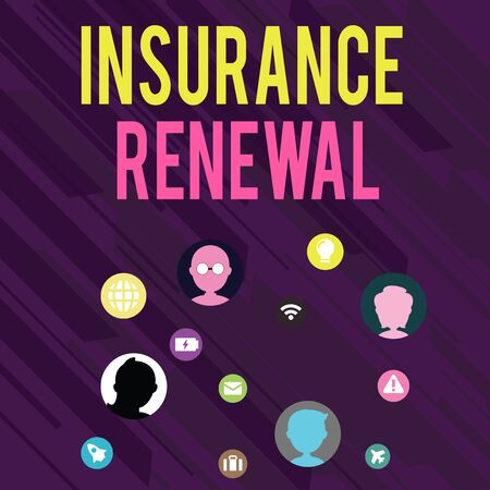 Conceptual hand writing showing Insurance Renewal. Concept meaning Protection from financial loss Continue the agreement Networking Technical Icons Chat Heads on Screen for Link Up Stock Photo