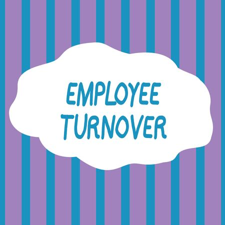 Text sign showing Employee Turnover. Business photo showcasing Number or percentage of workers who leave an organization Seamless Vertical Stripes Pattern in Blue and Violet Alternate Color Strip