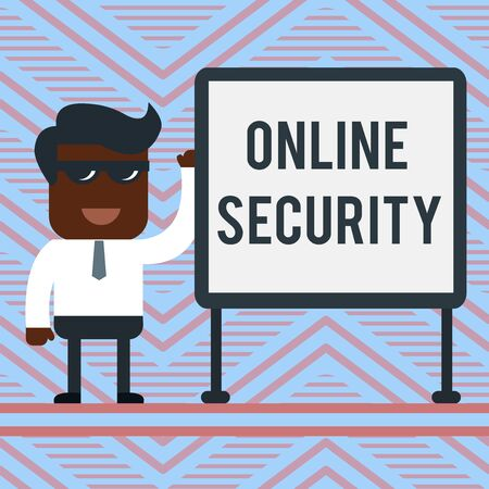 Word writing text Online Security. Business photo showcasing rules to protect against attacks over the Internet Office Worker Sunglass Blank Whiteboard Meeting Presentation Stock Photo