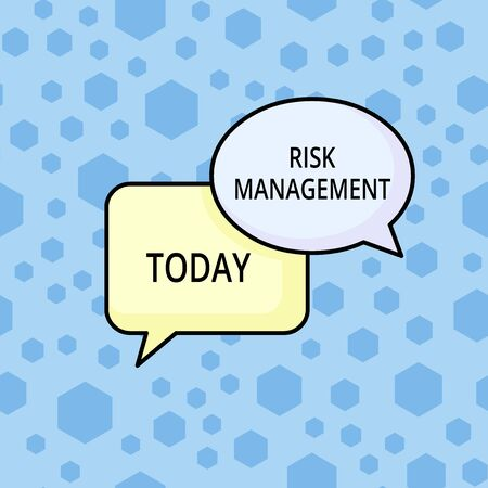 Word writing text Risk Management. Business photo showcasing evaluation of financial hazards or problems with procedures Pair of Overlapping Blank Speech Bubbles of Oval and Rectangular Shape Stock Photo