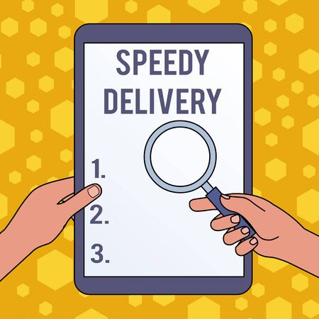 Handwriting text writing Speedy Delivery. Conceptual photo provide products in fast way or same day shipping overseas Hands Holding Magnifying Glass Against Switched Off Touch Screen Tablet Stock Photo