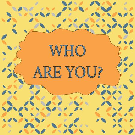 Text sign showing Who Are Youquestion. Business photo text someone asking your demonstratingal background or history Seamless Endless Infinite Summer Autumn Leaf Texture Multicolored Pattern Stock Photo