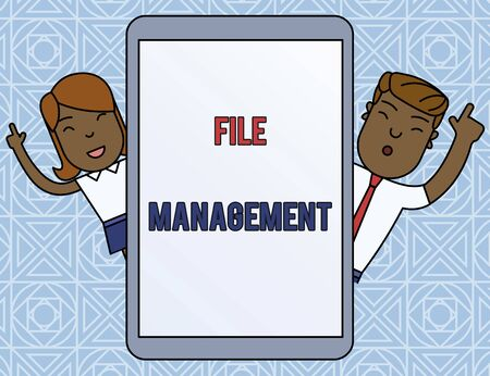 Word writing text File Management. Business photo showcasing computer program that provides user interface to analysisage data Male and Female Index Fingers Up Touch Screen Tablet Smartphone Device Banco de Imagens