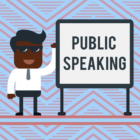 Word writing text Public Speaking. Business photo showcasing talking showing stage in subject Conference Presentation Office Worker Sunglass Blank Whiteboard Meeting Presentation Imagens