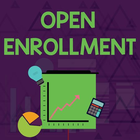 Writing note showing Open Enrollment. Business concept for The yearly period when showing can enroll an insurance Investment Icons of Pie and Line Chart with Arrow Going Up