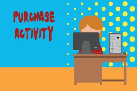 Conceptual hand writing showing Purchase Activity. Concept meaning Acquiring goods to achieve the goals of an organization Young female working in office computer office monitor photo
