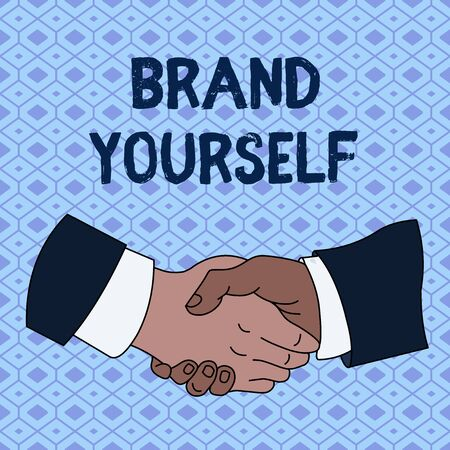 Handwriting text Brand Yourself. Conceptual photo Develop a unique professional identity Personal product Hand Shake Multiracial Male Business Partners Colleagues Formal Shirt Suit