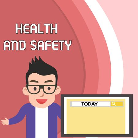 Handwriting text Health And Safety. Conceptual photo procedures intended to prevent accident in workplace Male Speaker Monitor with Search Tool on Screen Presentation or Report