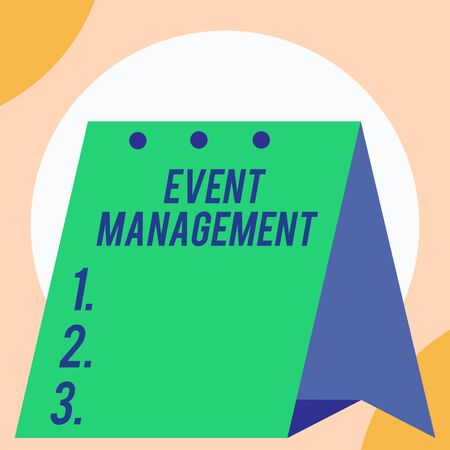 Handwriting text Event Management. Conceptual photo creation and development of large scale actions festivals Open big standing calendar Desk monthly planner Geometrical background Imagens