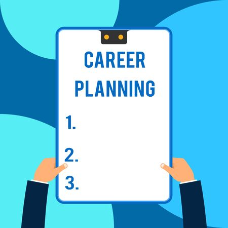Conceptual hand writing showing Career Planning. Concept meaning Strategically plan your career goals and work success Male hands holding electronic device geometrical background