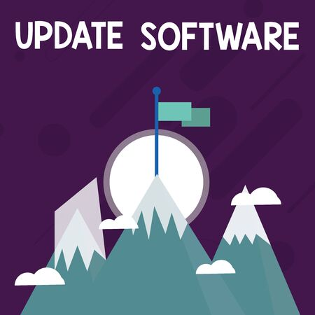 Conceptual hand writing showing Update Software. Concept meaning replacing program with a newer version of same product Three High Mountains with Snow and One has Flag at the Peak Reklamní fotografie