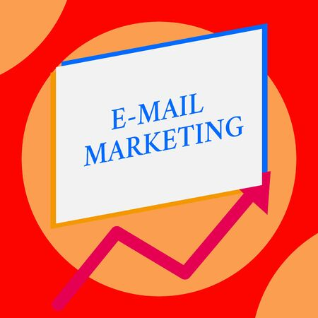 Writing note showing E Mail Marketing. Business concept for Ecommerce Advertising Online sales Newsletters Promotion One blank rectangle above another arrow zigzag upwards increasing sale