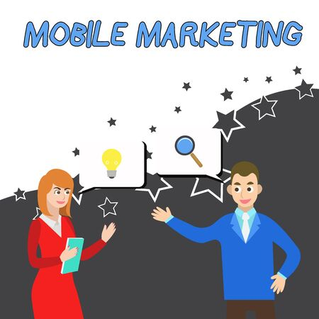 Conceptual hand writing showing Mobile Marketing. Concept meaning technique focused reaching audience on their smart device Business Partners Colleague Jointly Seeking Problem Solution
