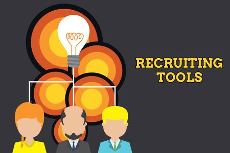 Conceptual hand writing showing Recruiting Tools. Concept meaning getting new talents to your company through internet or ads Three executive persons sharing idea Startup team meeting
