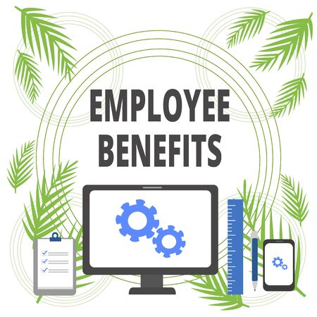 Handwriting text writing Employee Benefits. Conceptual photo Indirect and noncash compensation paid to an employee Business Concept PC Monitor Mobile Device Clipboard Ruler Ballpoint Pen Banco de Imagens