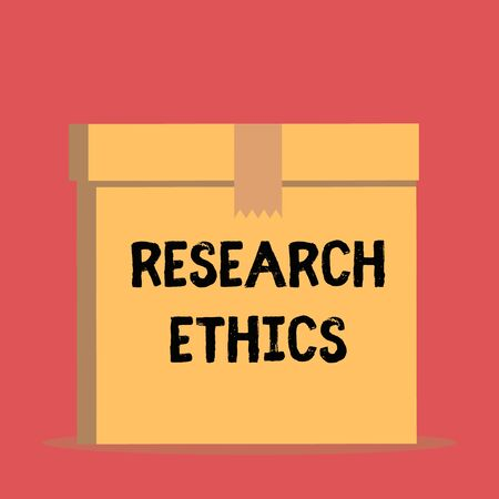 Handwriting text Research Ethics. Conceptual photo interested in the analysis ofethicalissues that raised Close up front view open brown cardboard sealed box lid. Blank background Stock Photo