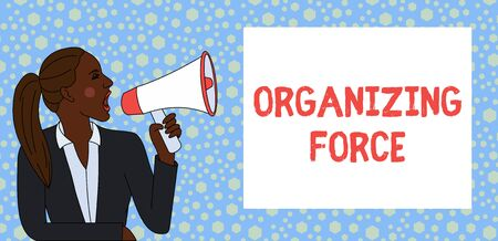 Text sign showing Organizing Force. Business photo text being United powerful group to do certain actions Young Woman Jacket Ponytail Shouting into Loudhailer Rectangular Text Box Stock Photo