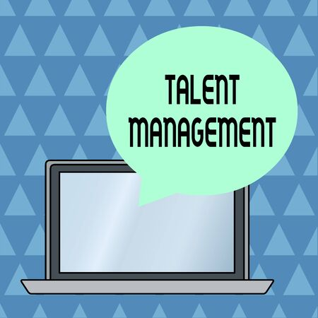 Text sign showing Talent Management. Business photo showcasing Acquiring hiring and retaining talented employees Round Shape Empty Speech Bubble Floating Over Open Laptop Colored Backdrop Stock fotó