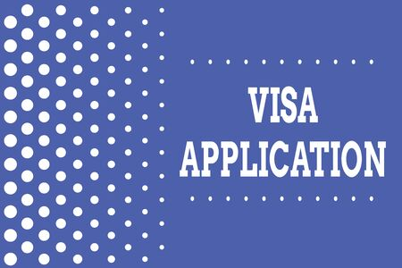 Handwriting text writing Visa Application. Conceptual photo Form to ask permission travel or live in another country Decreasing points size background other half without drawing. Polka dots Banque d'images - 124928745