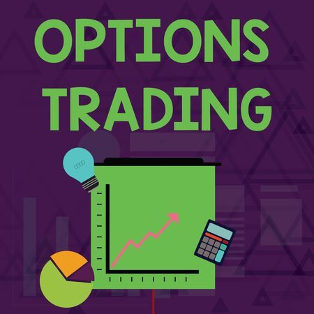 Writing note showing Options Trading. Business concept for Different options to make goods or services spread worldwide Investment Icons of Pie and Line Chart with Arrow Going Up