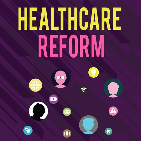 Conceptual hand writing showing Healthcare Reform. Concept meaning Innovation and Improvement in the quality of care program Networking Technical Icons Chat Heads on Screen for Link Up