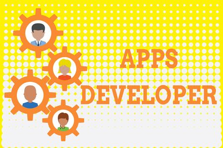 Conceptual hand writing showing Apps Developer. Concept meaning Graphic artist Software Programmer and Analyst Experts Gearshaped picture frame family ornament Whole Family photo Stock Photo