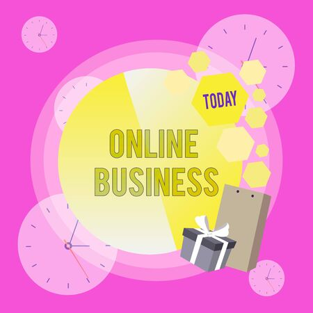 Conceptual hand writing showing Online Business. Concept meaning Commercial transaction sharing information in the internet Greeting Card Poster Gift Package Box Decorated by Bowknot