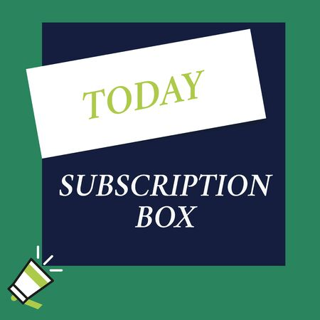 Writing note showing Subscription Box. Business concept for button if you clicked on will get news or videos about site Speaking trumpet on left bottom and paper to rectangle background