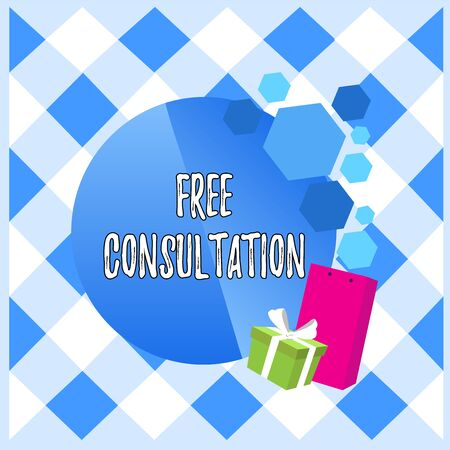 Conceptual hand writing showing Free Consultation. Concept meaning Giving medical and legal discussions without pay Greeting Card Poster Gift Package Box Decorated by Bowknot Banco de Imagens