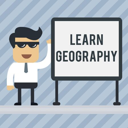 Writing note showing Learn Geography. Business concept for study of physical features of earth and its atmosphere Office Worker Sunglass Blank Whiteboard Meeting Presentation