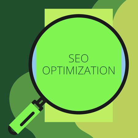 Writing note showing Seo Optimization. Business concept for process of affecting online visibility of website or page Round magnifying glass with iron handle frame to look bigger Imagens