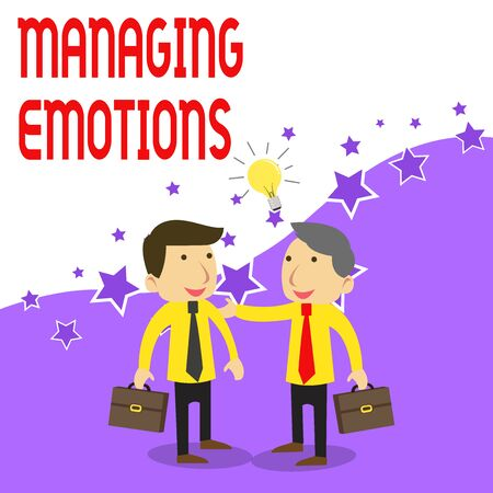 Handwriting text writing Managing Emotions. Conceptual photo Controlling feelings in oneself Maintain composure Two White Businessmen Colleagues with Brief Cases Sharing Idea Solution Imagens