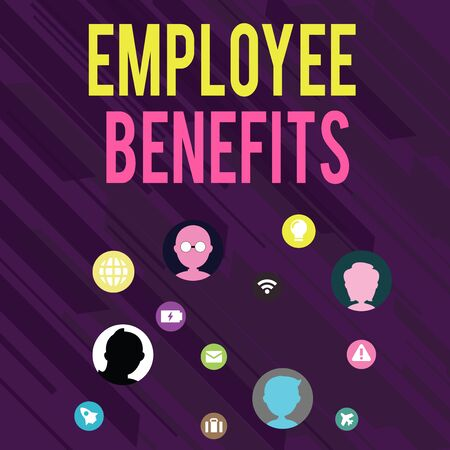 Conceptual hand writing showing Employee Benefits. Concept meaning Indirect and noncash compensation paid to an employee Networking Technical Icons Chat Heads on Screen for Link Up Banco de Imagens
