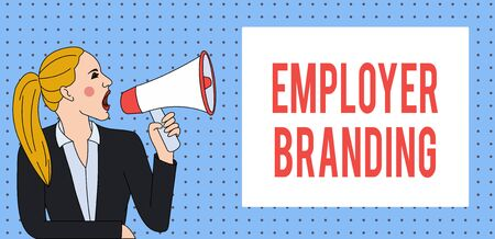 Word writing text Employer Branding. Business photo showcasing Process of promoting a company Building Reputation Young Woman Jacket Ponytail Shouting into Loudhailer Rectangular Text Box
