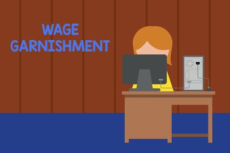 Word writing text Wage Garnishment. Business photo showcasing Deducting money from compensation ordered by the court Young female working office sitting desktop computer office monitor photo Stock Photo