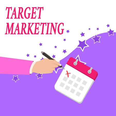 Text sign showing Target Marketing. Business photo text Audience goal Chosen clients customers Advertising Male Hand Formal Suit Crosses Off One Day Calendar Red Ink Ballpoint Pen Banque d'images - 124903761